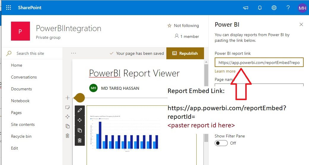 Embed PowerBI Report into SharePoint Step 9